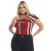 Blusa Feminina Plus Size Malha Um Ombro Só Babado