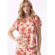 Blusa Feminina Plus Size Tecido Estampa Floral Manga Curta