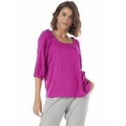 Blusa Feminina Tecido Rosa Decote Quadrado Elástico Ombros