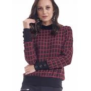 Blusa Feminina Poliéster Xadrez Vermelha e Preta Gola Punho com Botões Decorativos