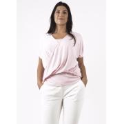 Blusa Feminina Rosa Com Sobreposição Detalhe Na Frente e Renda Ombros