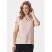 Blusa Feminina Tecido Estampada Detalhe Lastex Decote