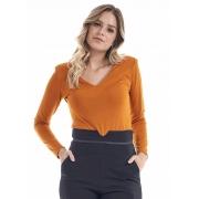 Blusa Feminina Viscose Ponto Roma Damasco Decote V
