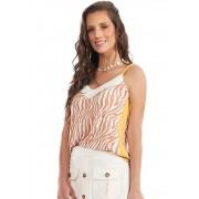 Blusa Zebra Com Recorte Lateral Bege/Amarelo