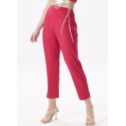 Calça Feminina Pink Malha Canelada Reta Com Bolso E Cós Elástico