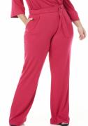 Calça Reta Slim Feminina Viscose Pink Bolso na Frente Cós de Elástico Embutido com Cinto