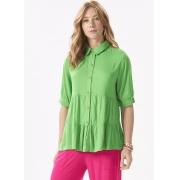Camisa Feminina Plus Size Tecido Duas Marias Botões e  Gola