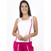 Blusa Regata Feminina Rosa Com Friso Contrastante