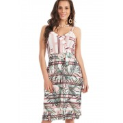 Vestido Com Fivela Marmorizada Mix Estampas Rosa/Verde