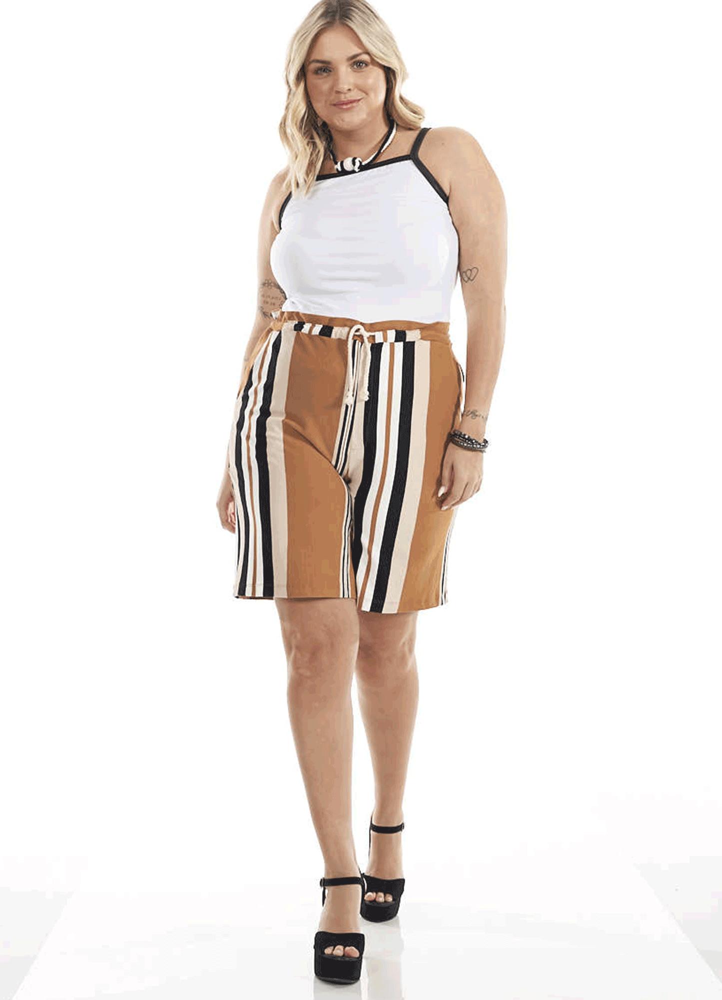 Bermuda Feminina Plus Size Crepe Listrado Amarração Cadarço