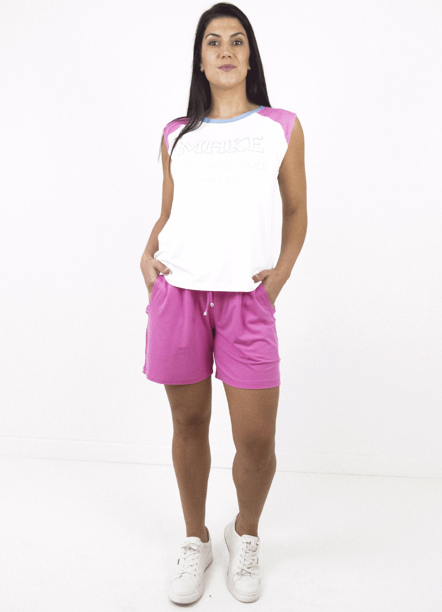 Bermuda Feminina Malha Rosa com Cós de Elástico e Bolso