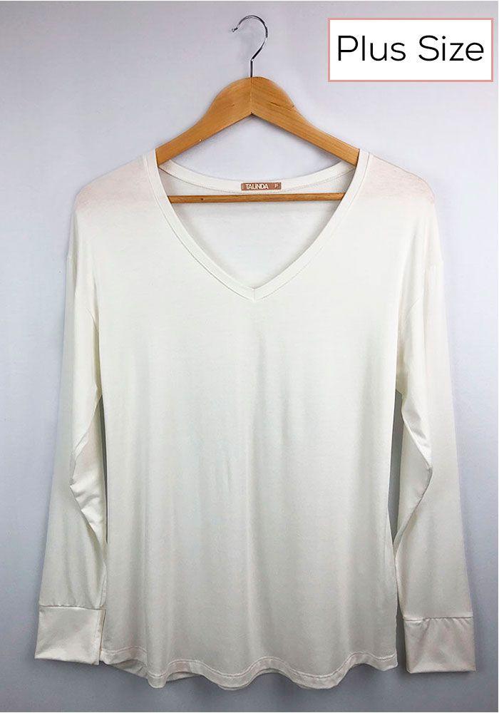 Blusa Básica Decote V Off White