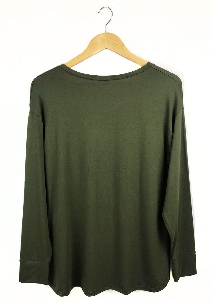 Blusa Básica Decote V Verde