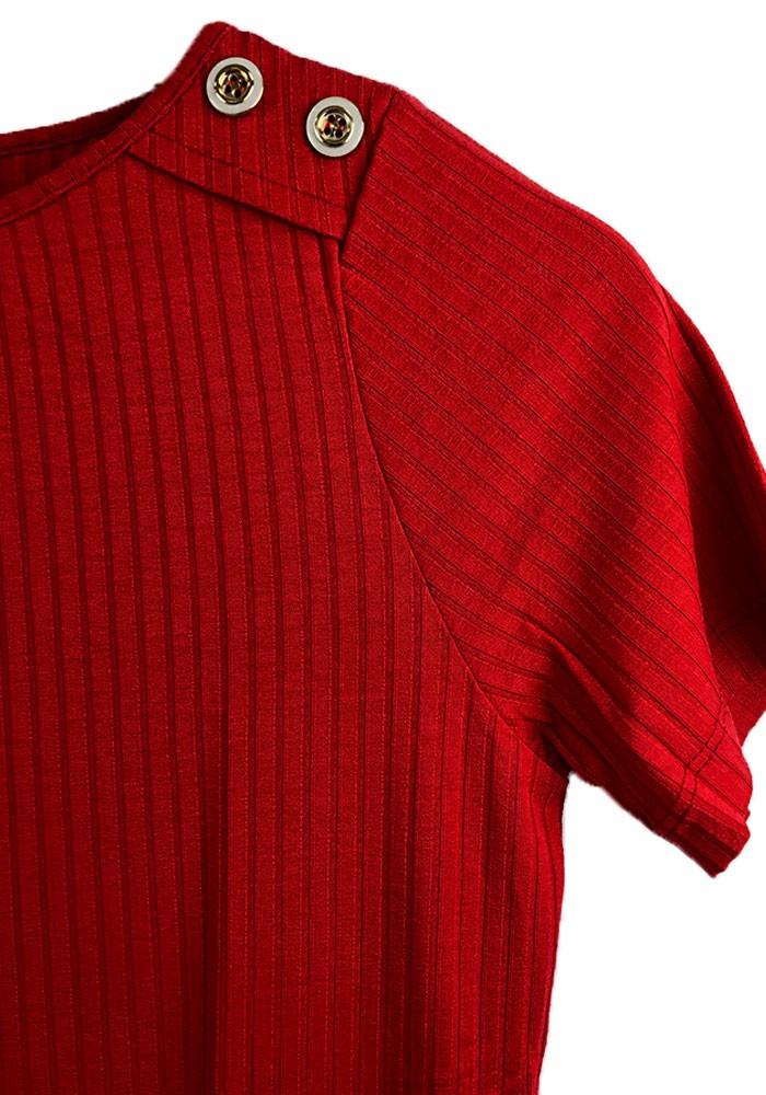 Blusa Canelada Botões Vermelho