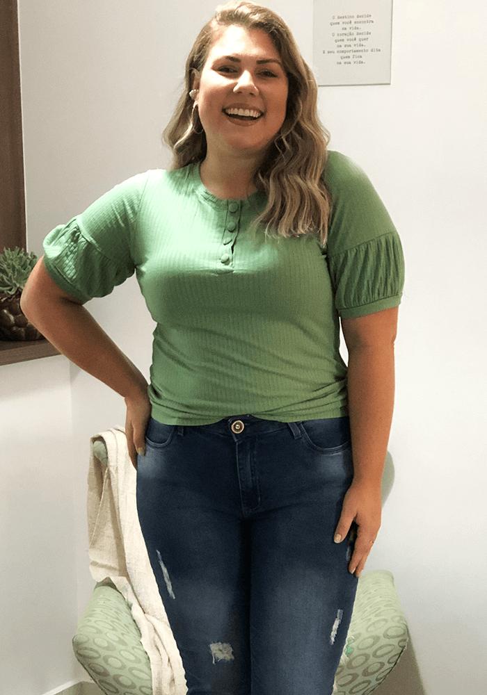 Blusa Canelada Com Botões