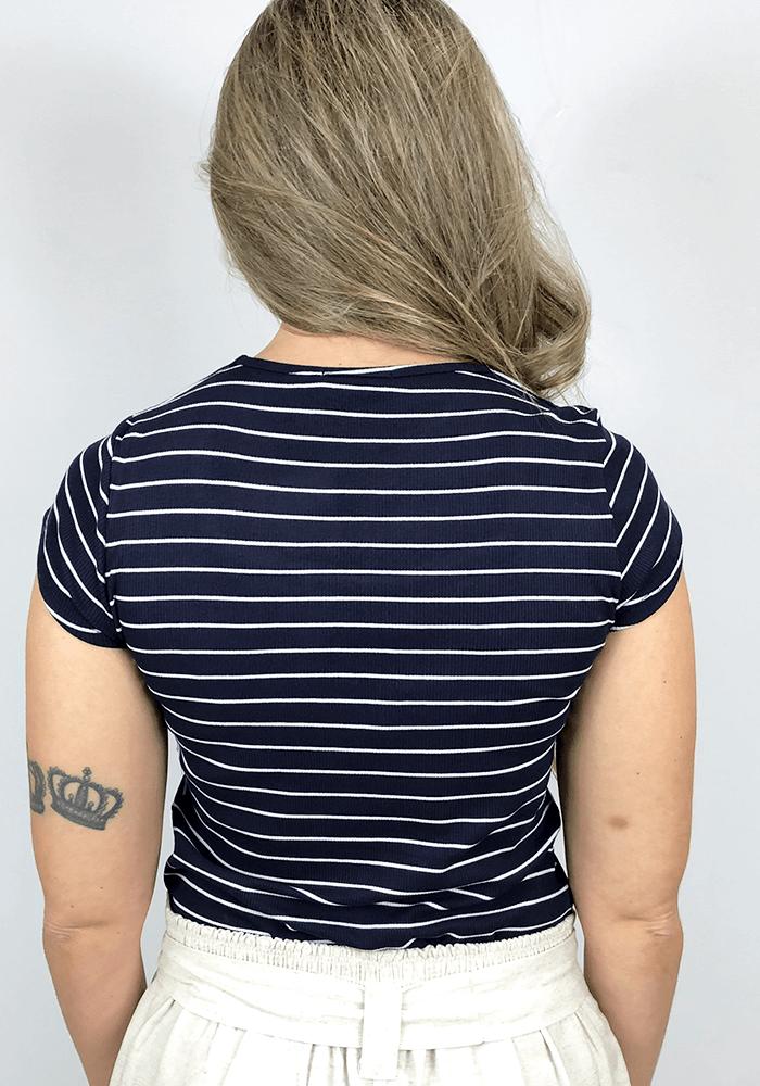 Blusa Canelada Listrada Botões Frente