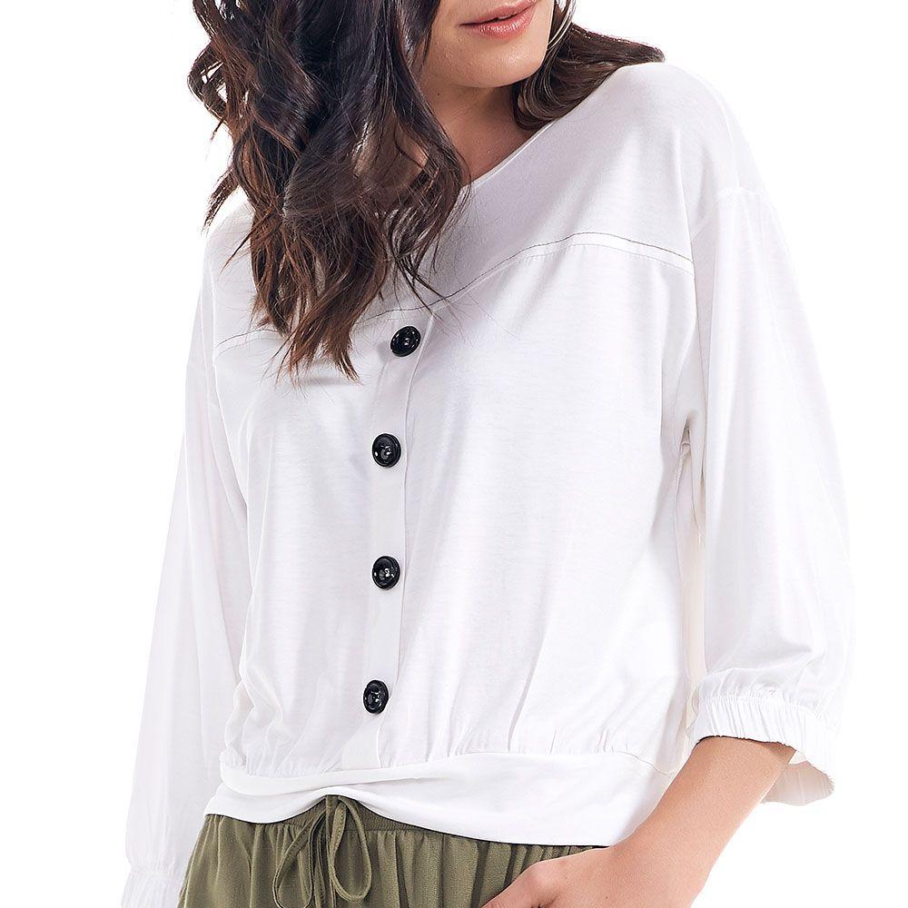 Blusa Com Botões E Pesponto Contraste Off White