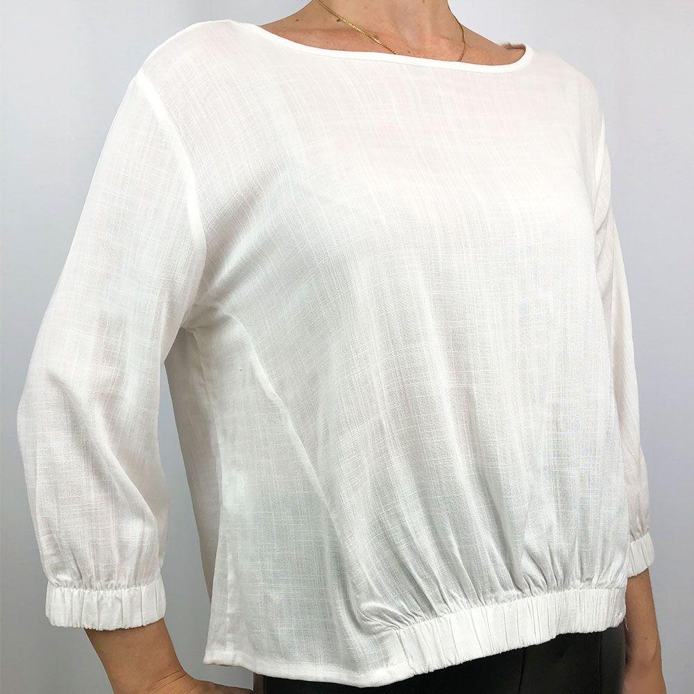 Blusa Com Elástico Barra Off White