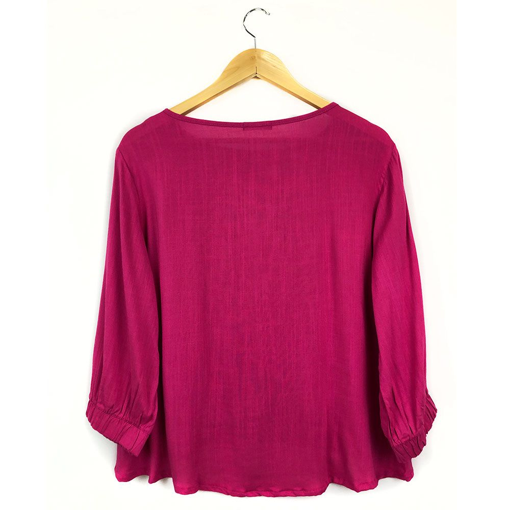 Blusa Com Elástico Barra Pink