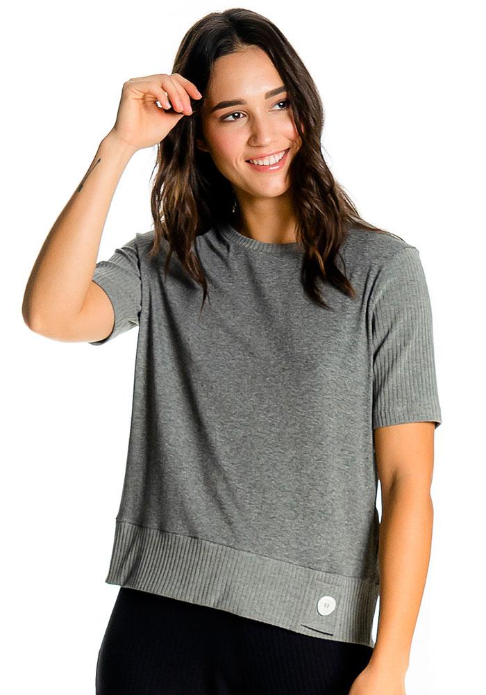 Blusa Detalhe Canelado Mescla