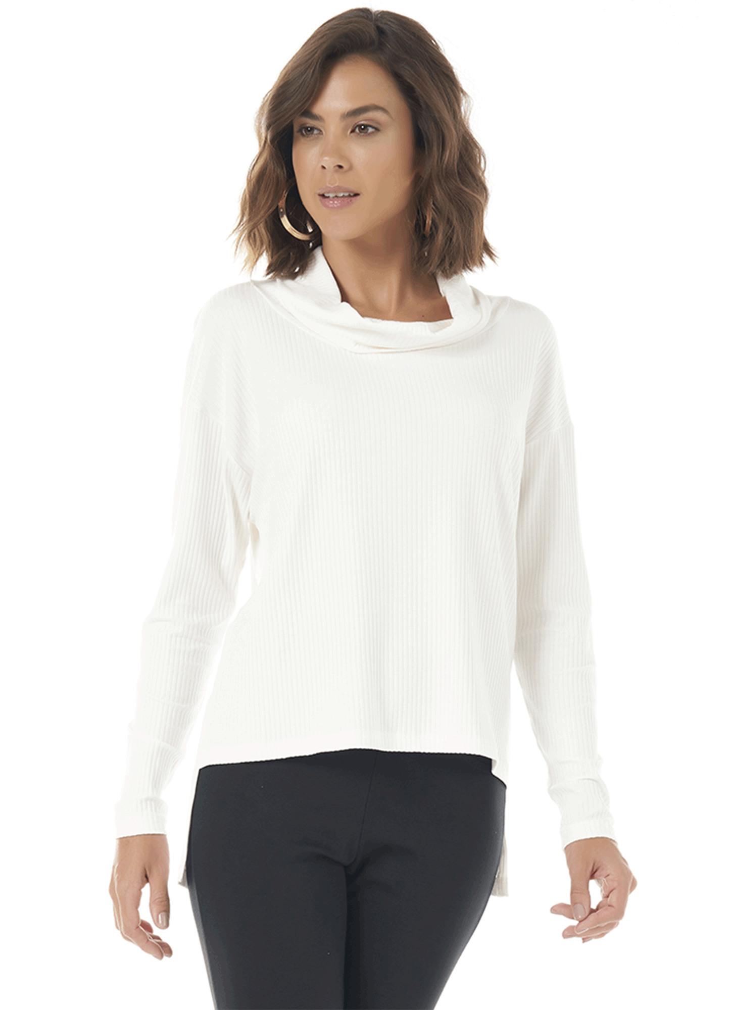 Blusa Feminina Canelada Branca com Gola