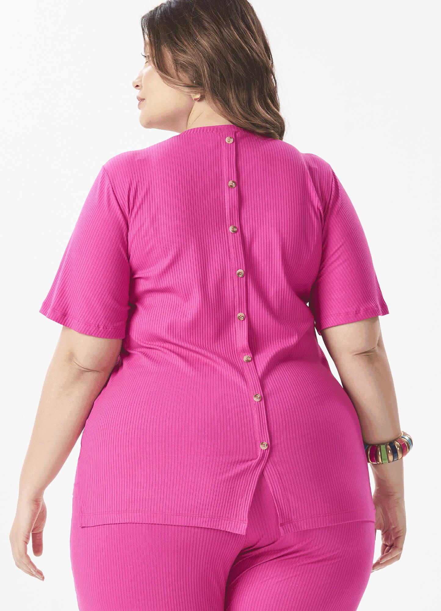 Blusa Feminina Canelada Rosa Detalhe Botões Costas