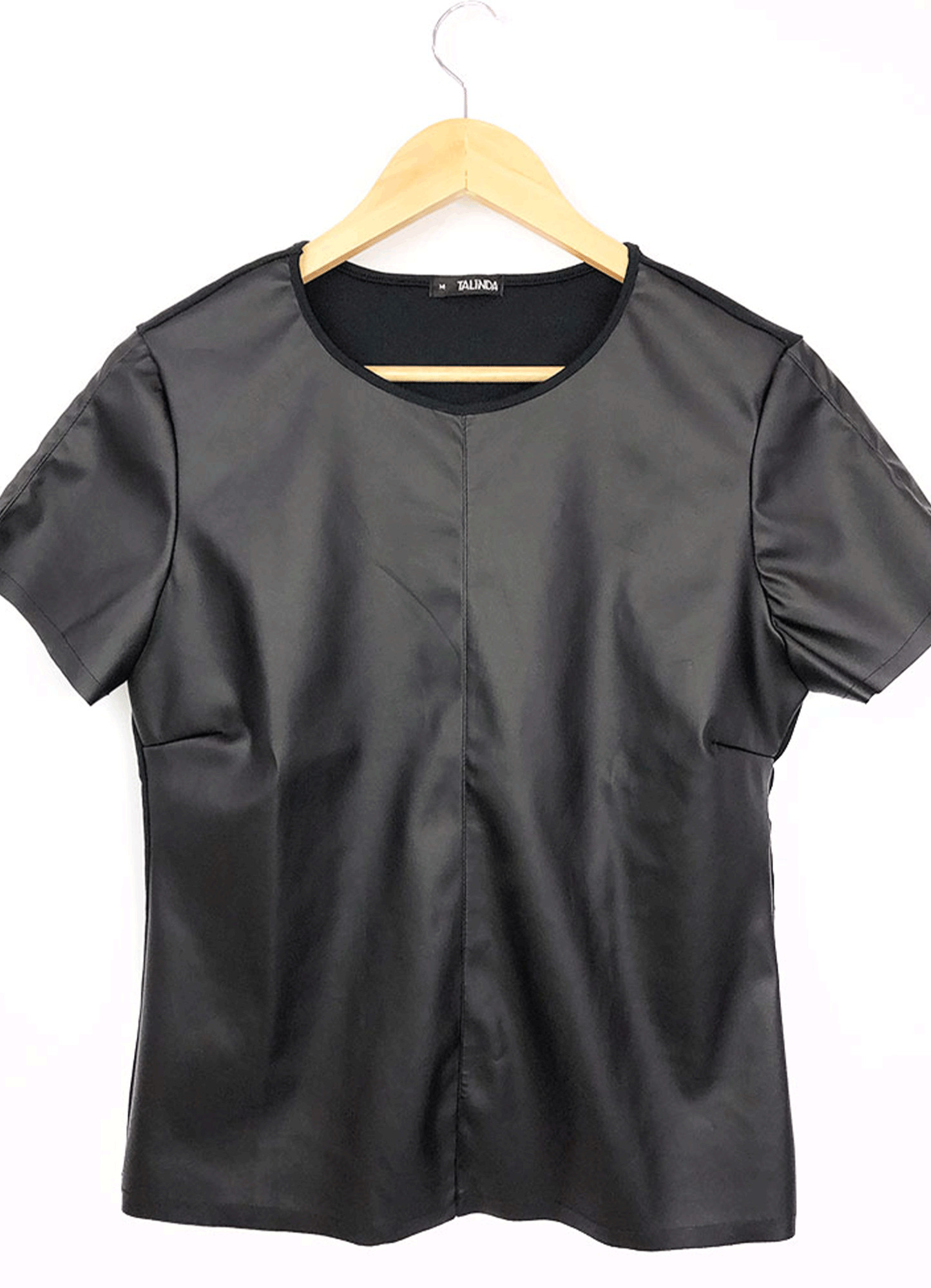 Blusa Feminina Frente Couro Costa Viscose Preta Decote Redondo