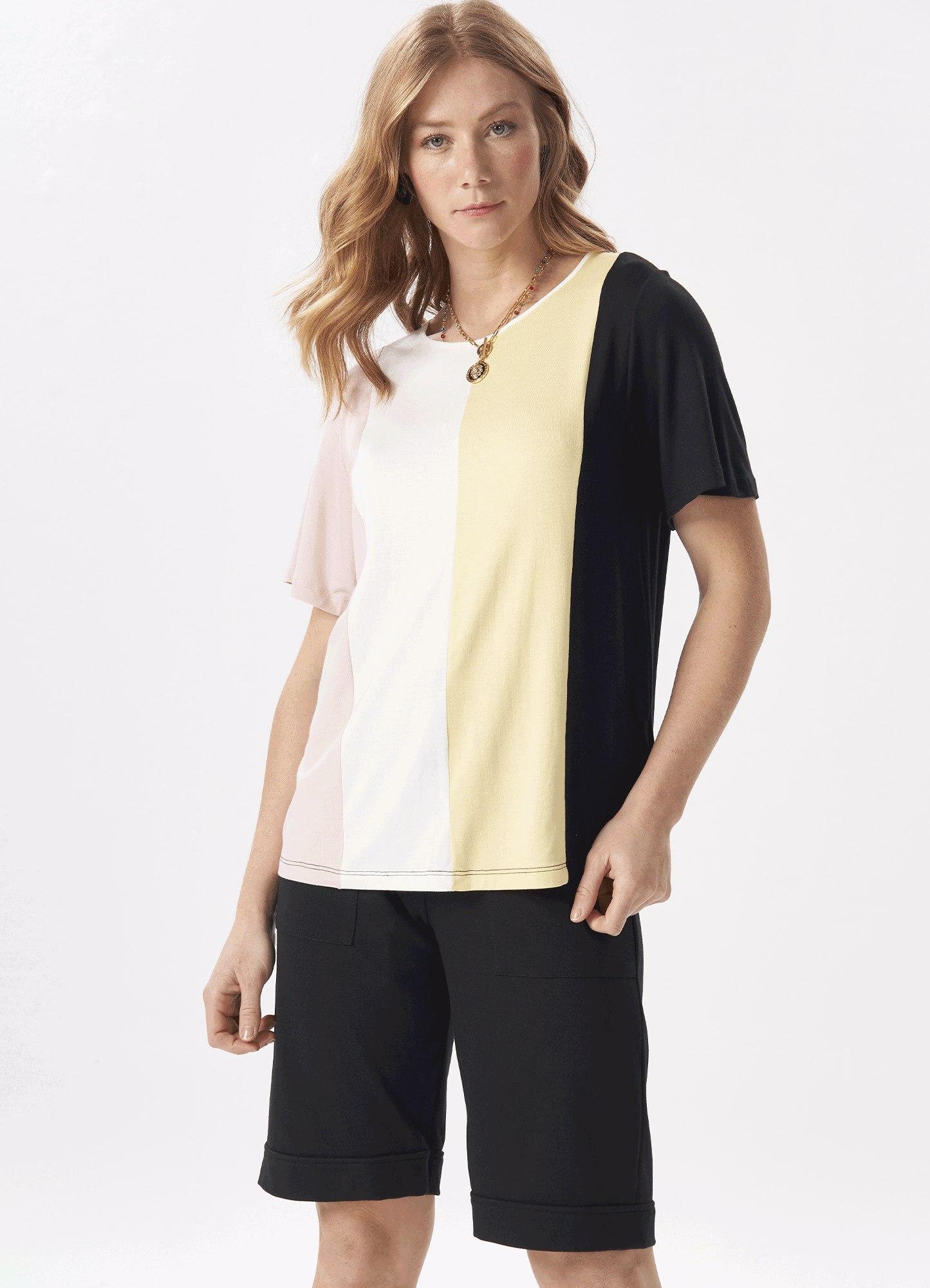 Blusa Feminina Malha Bloco de cores Decote Redondo
