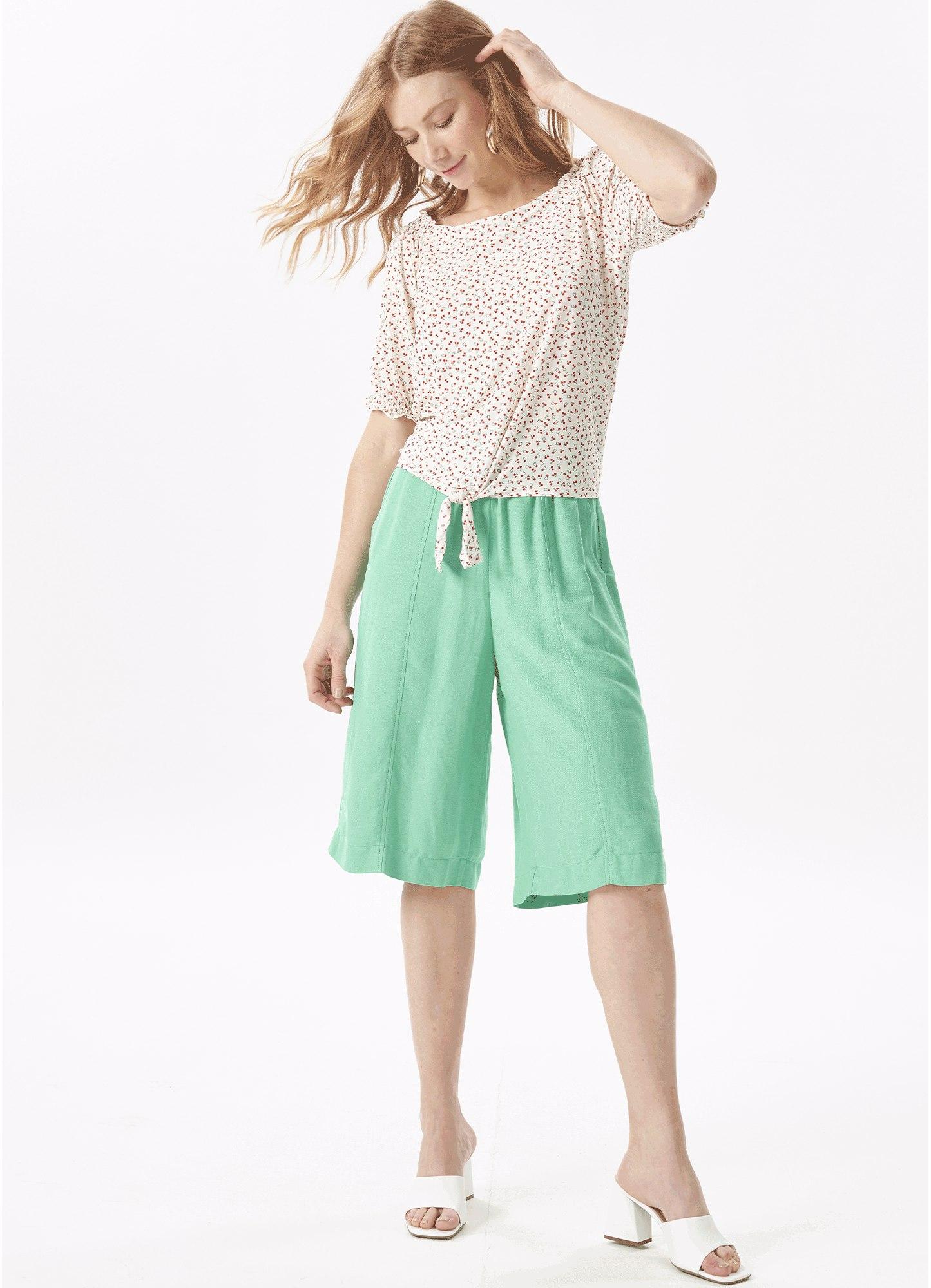 Blusa Feminina Plus Size Bata Jersey Estampada Elástico Mangas e Nó