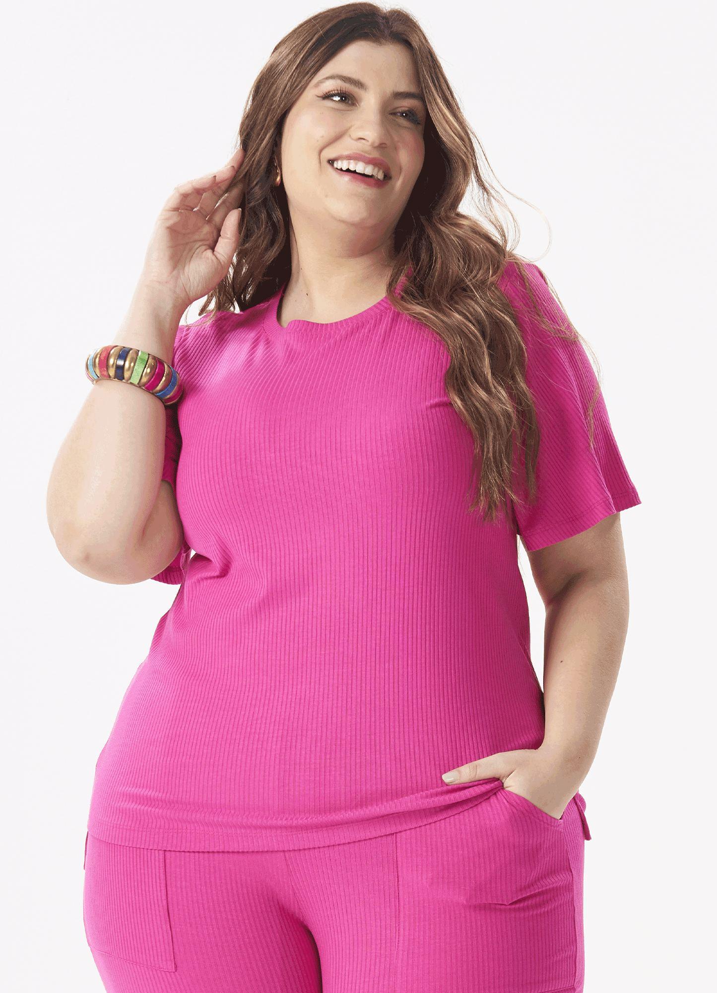 Blusa Feminina Plus Size Canelada Rosa Detalhe Botões Costas