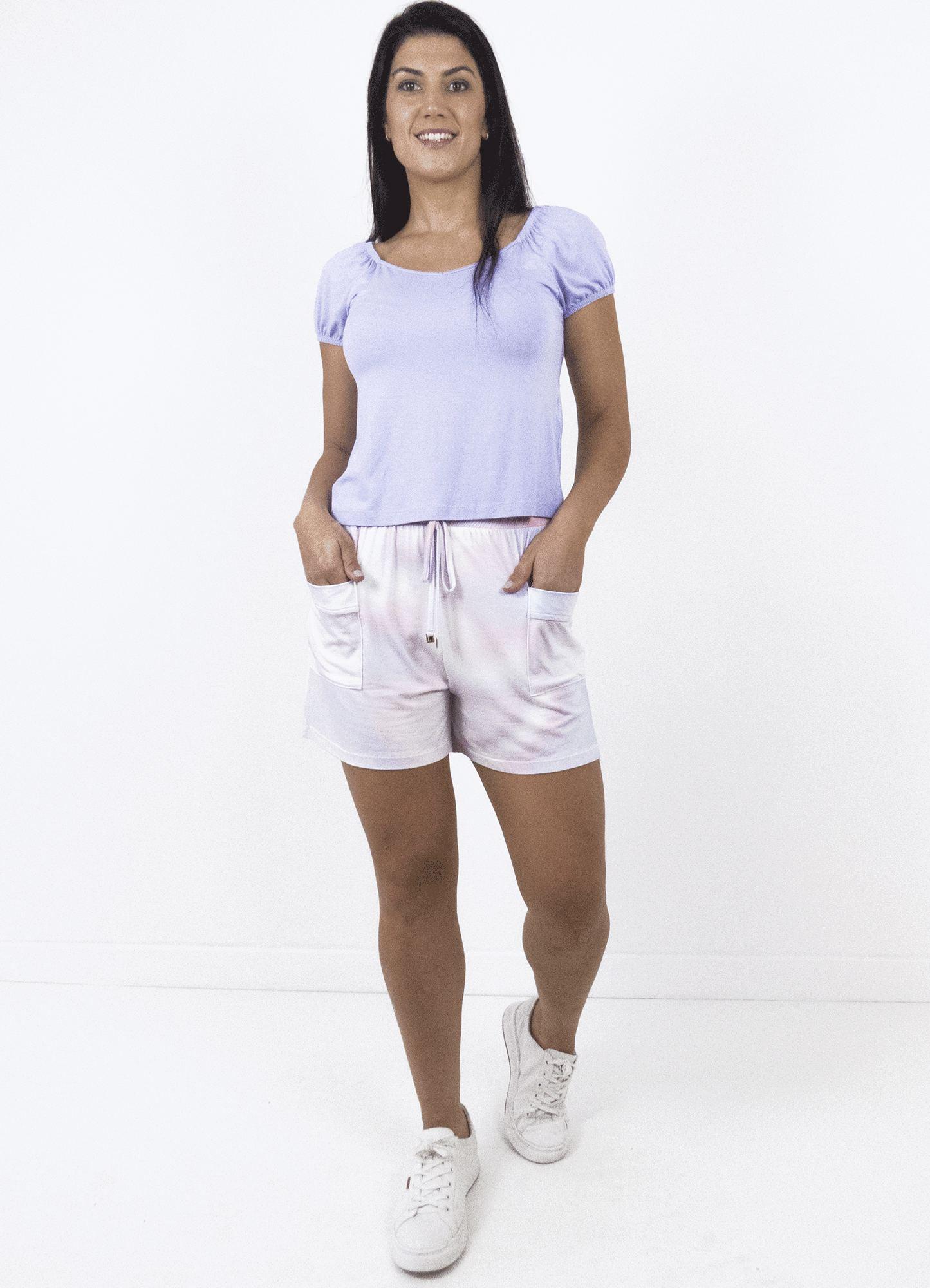 Blusa Feminina Plus Size Lilás Decote Em V Detalhe Elástico Manga