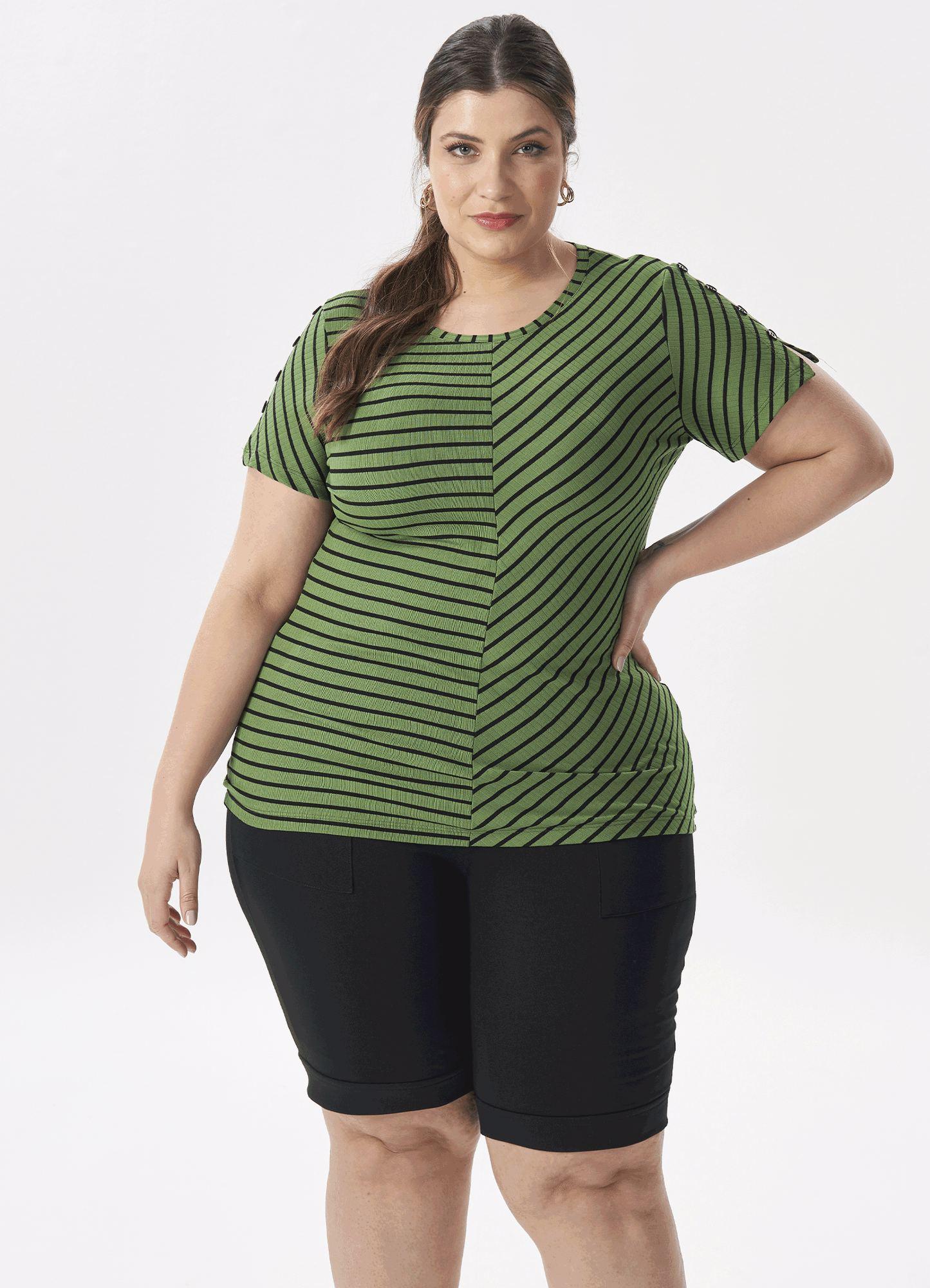 Blusa Feminina Plus Size Listrada Decote V