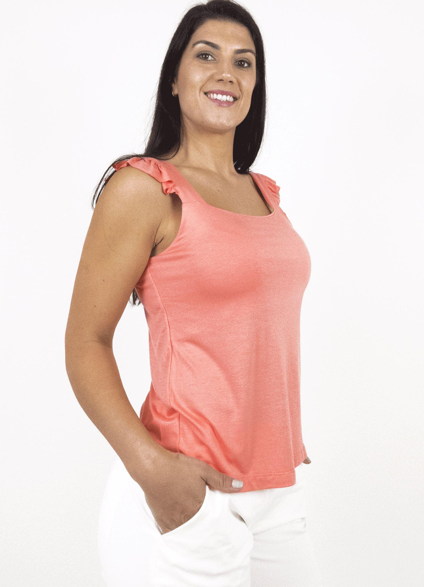 Blusa Feminina Plus Size Malha Alça Babado Decote Quadrado
