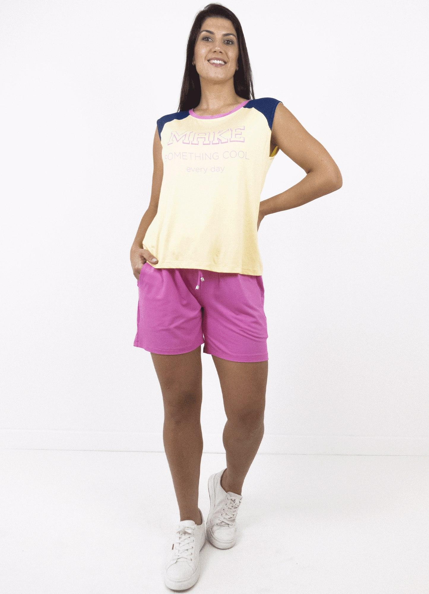 Blusa Feminina Plus Size Malha Bicolor Estampada Decote Redondo Sem Manga