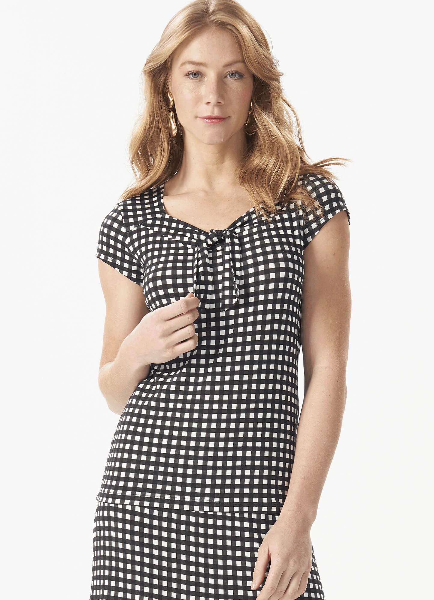 Blusa Feminina Plus Size Malha Estampa Xadrez Amarração Decote
