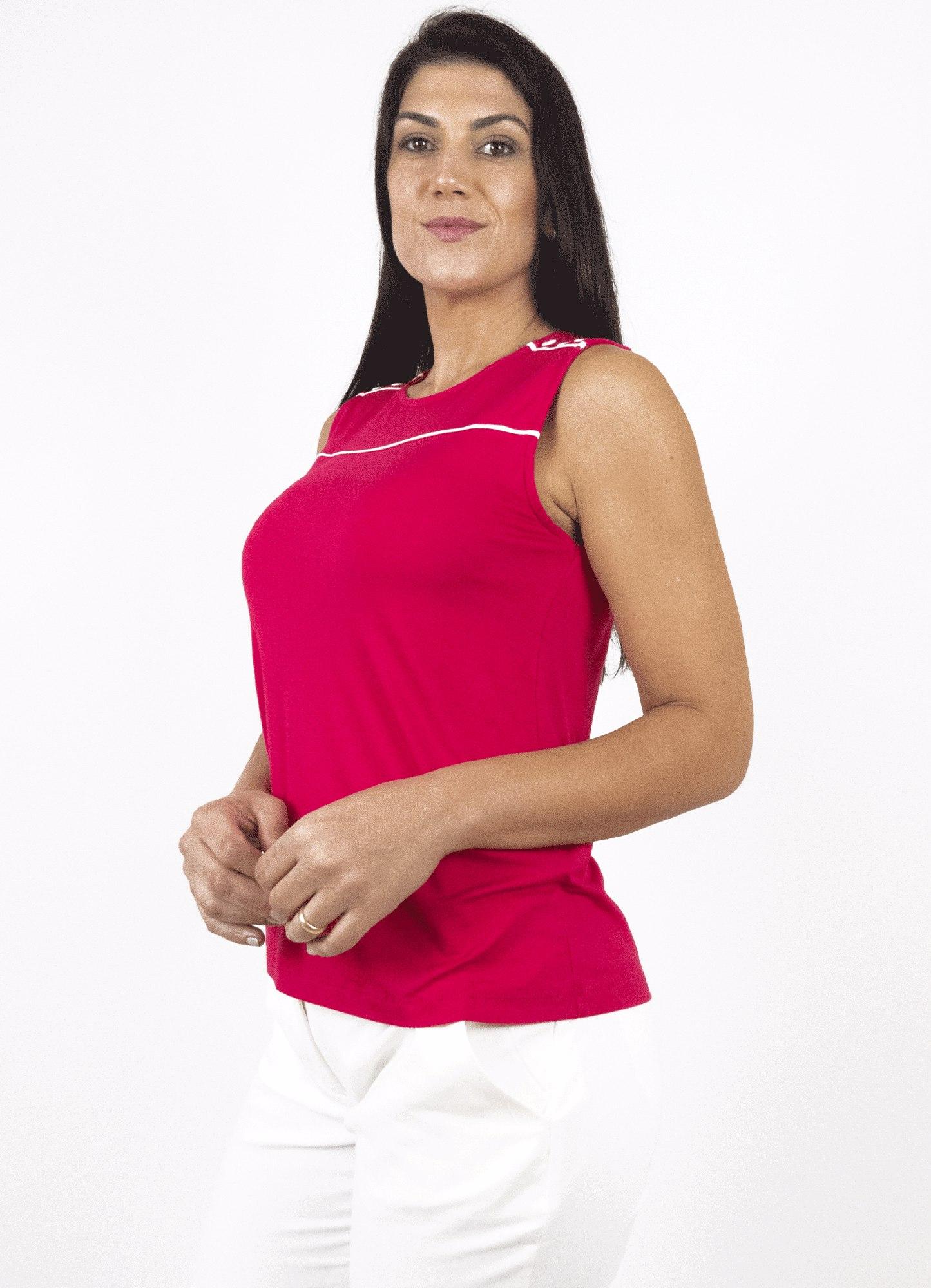Blusa Feminina Plus Size Malha Rosa Decote Redondo Botão Decorativo no Ombro