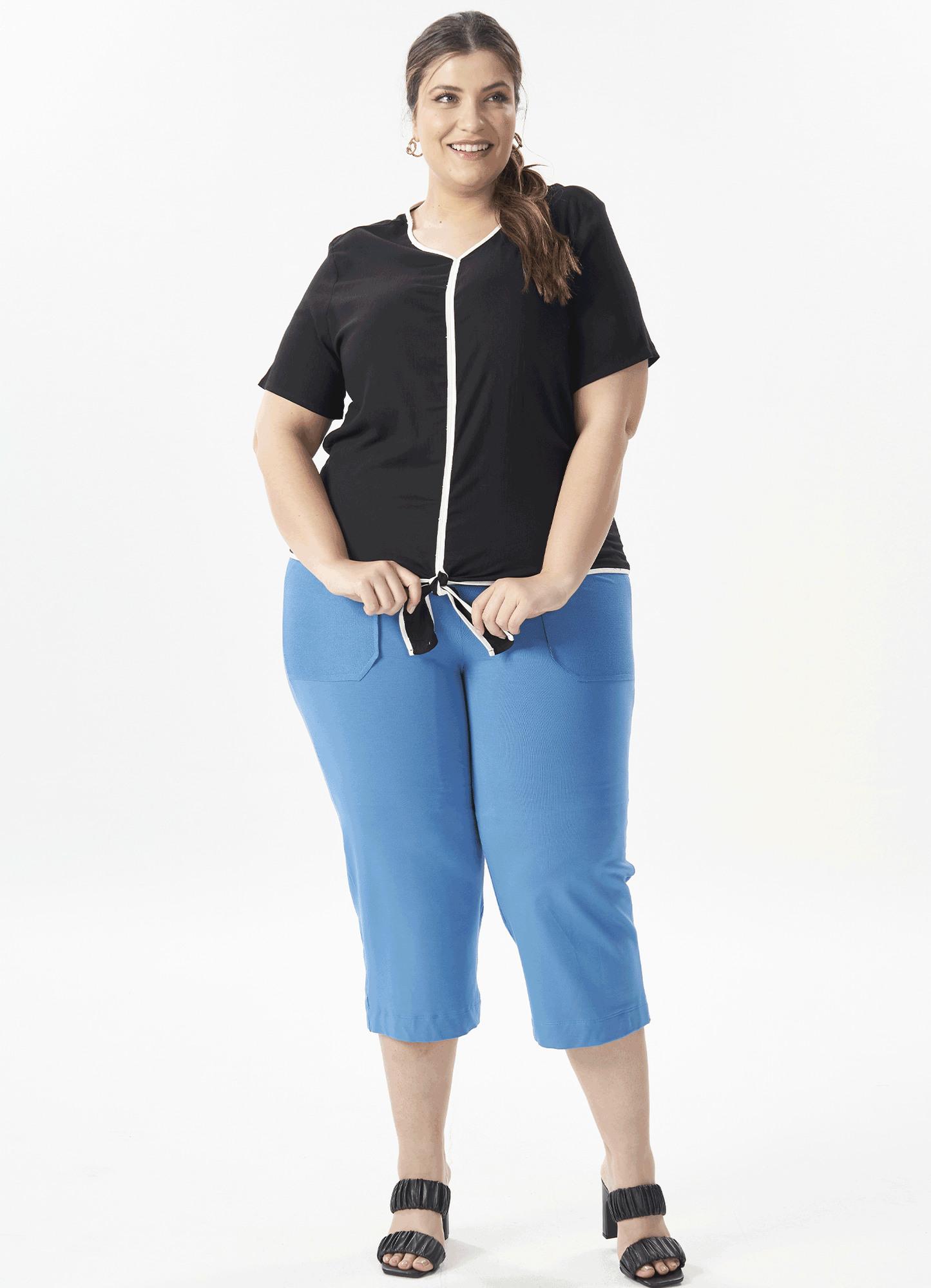 Blusa Feminina Tecido Bicolor Manga Curta e Amarração