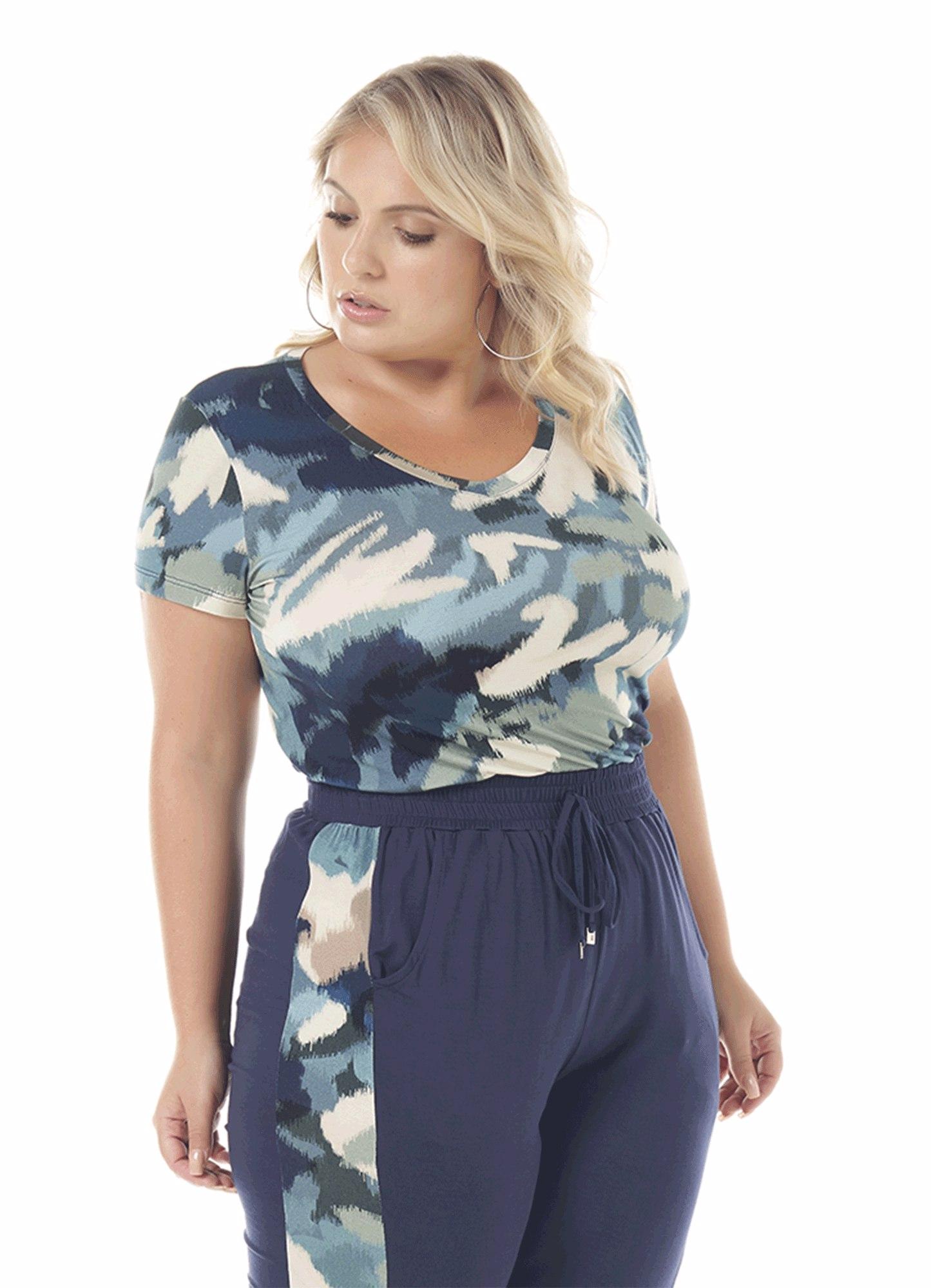 Blusa Feminina Viscose Azul Estampada Decote V
