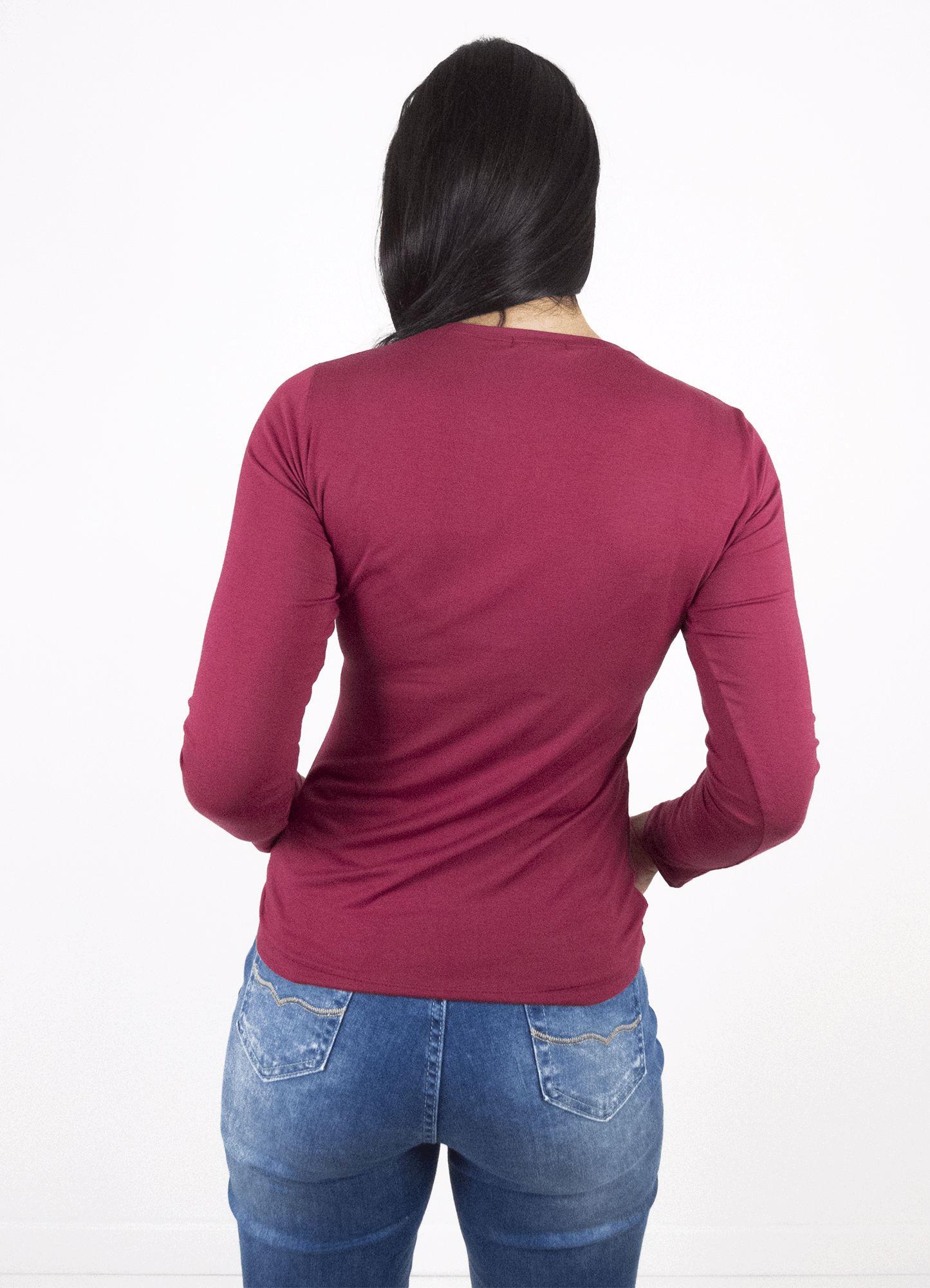 Blusa Feminina Viscose Básica Bordô Decote Redondo