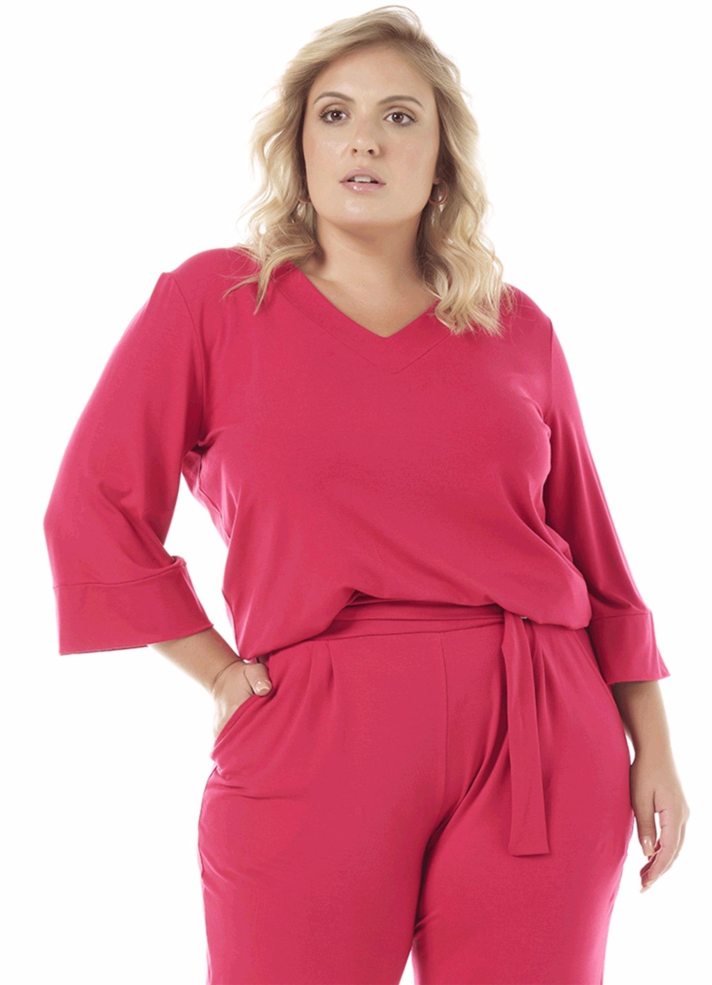 Blusa Feminina Viscose Pink Decote V Slim