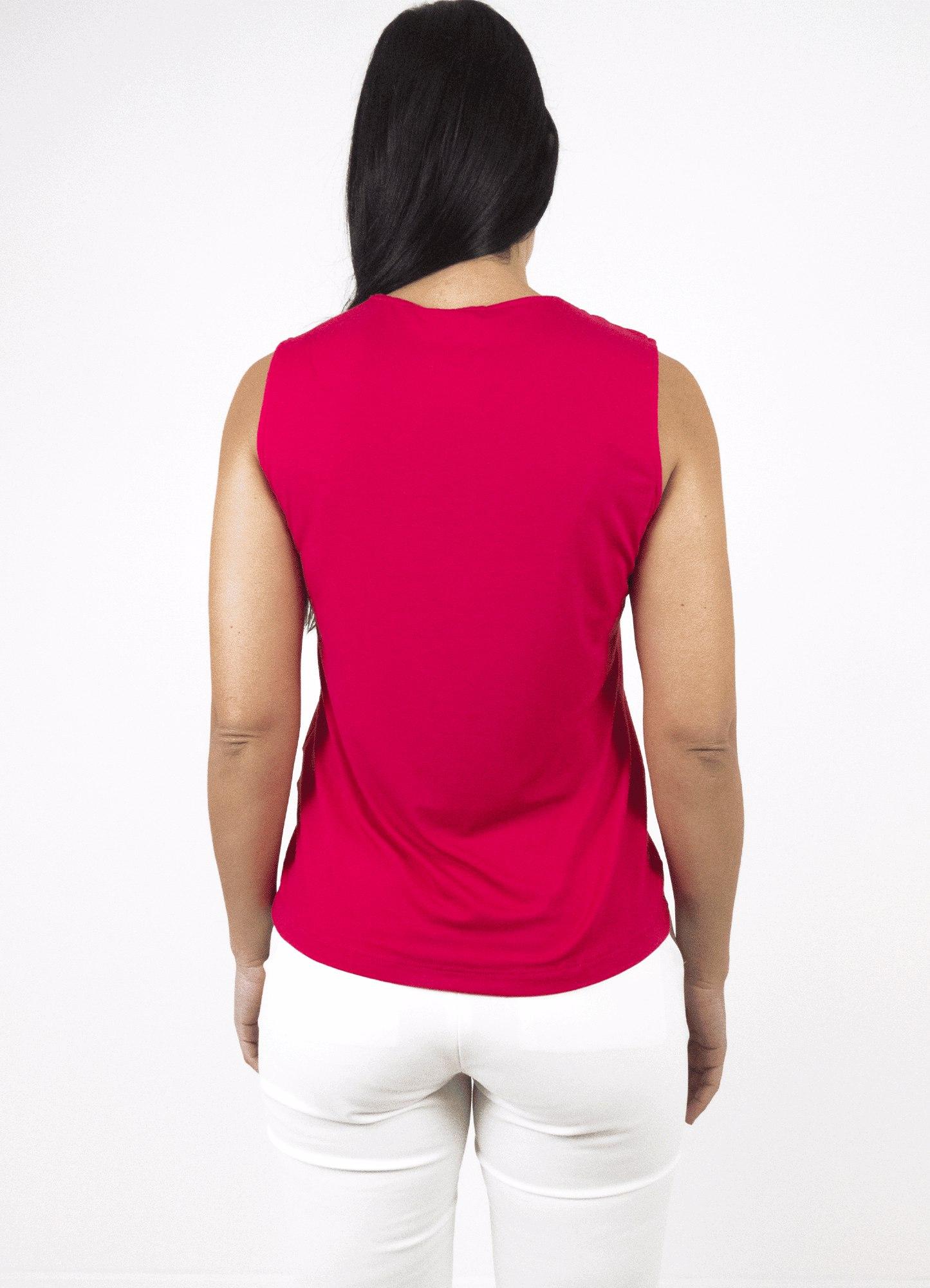 Blusa Feminina Malha Rosa Decote Redondo Botão Decorativo no Ombro