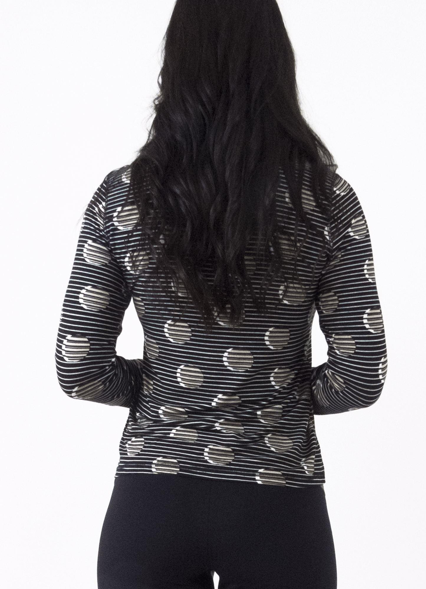 Blusa Feminina Viscose Listrada Estampada Preta e Branca Cacharrel
