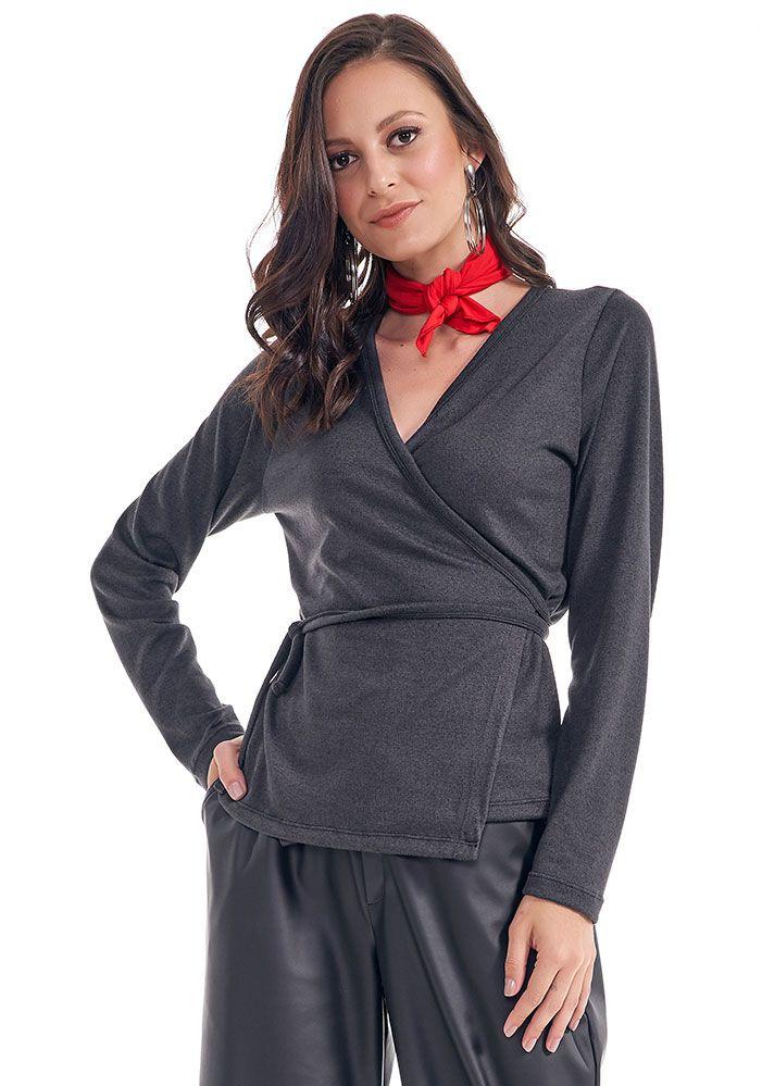 Blusa Lã Com Transpasse e Amarração Bege