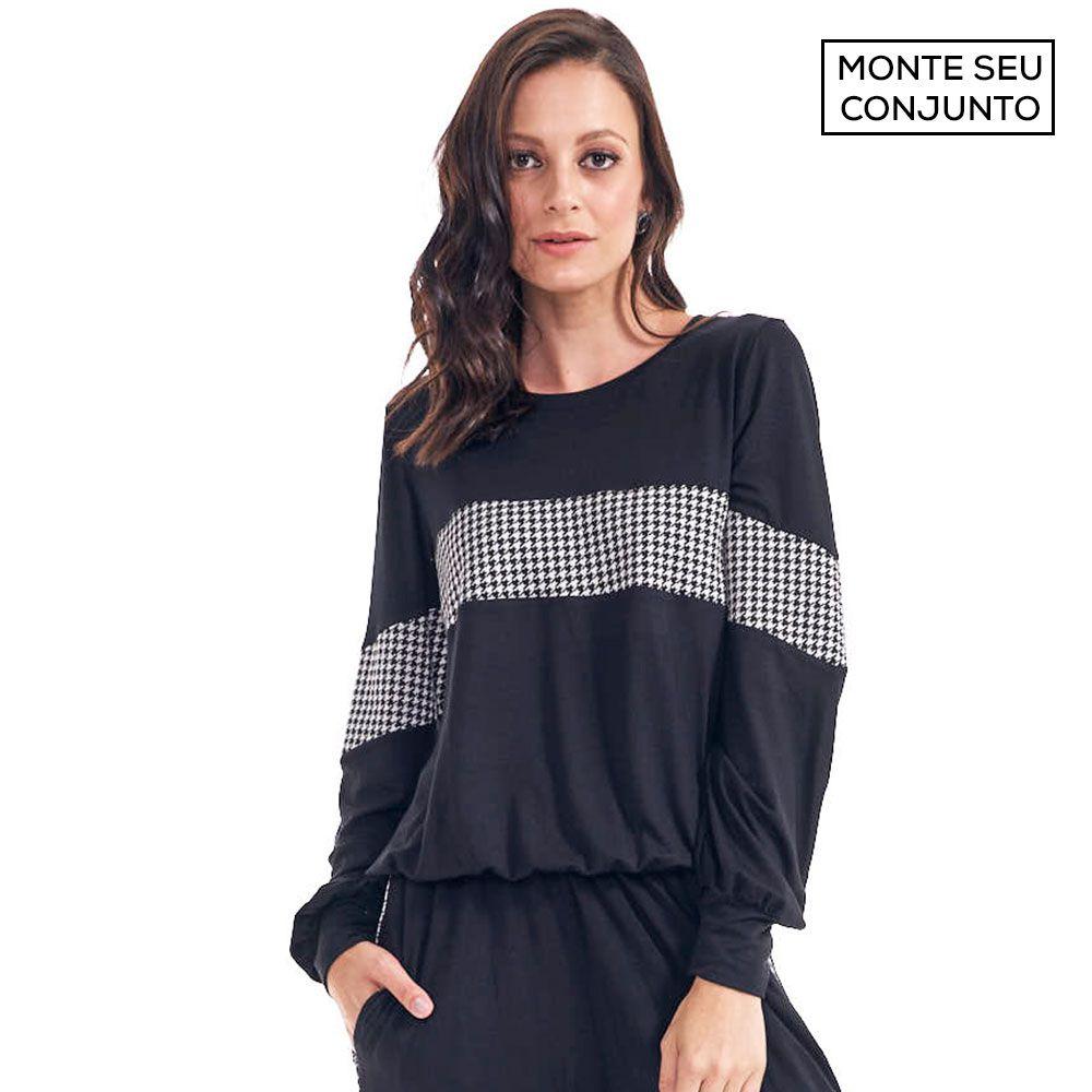 Blusa Conjunto Comfy Com Recorte Xadrex Preto