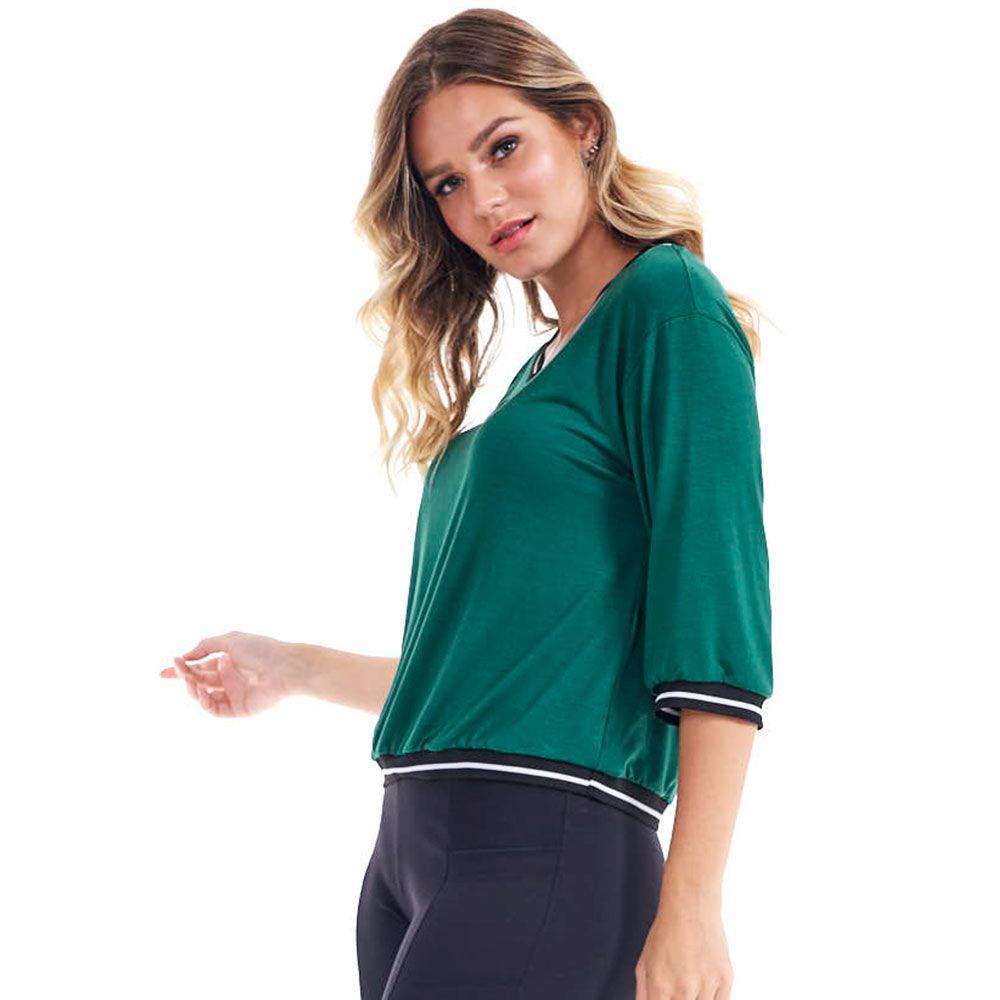 Blusa Lisa Decote V Com Detalhe Bicolor Esmeralda