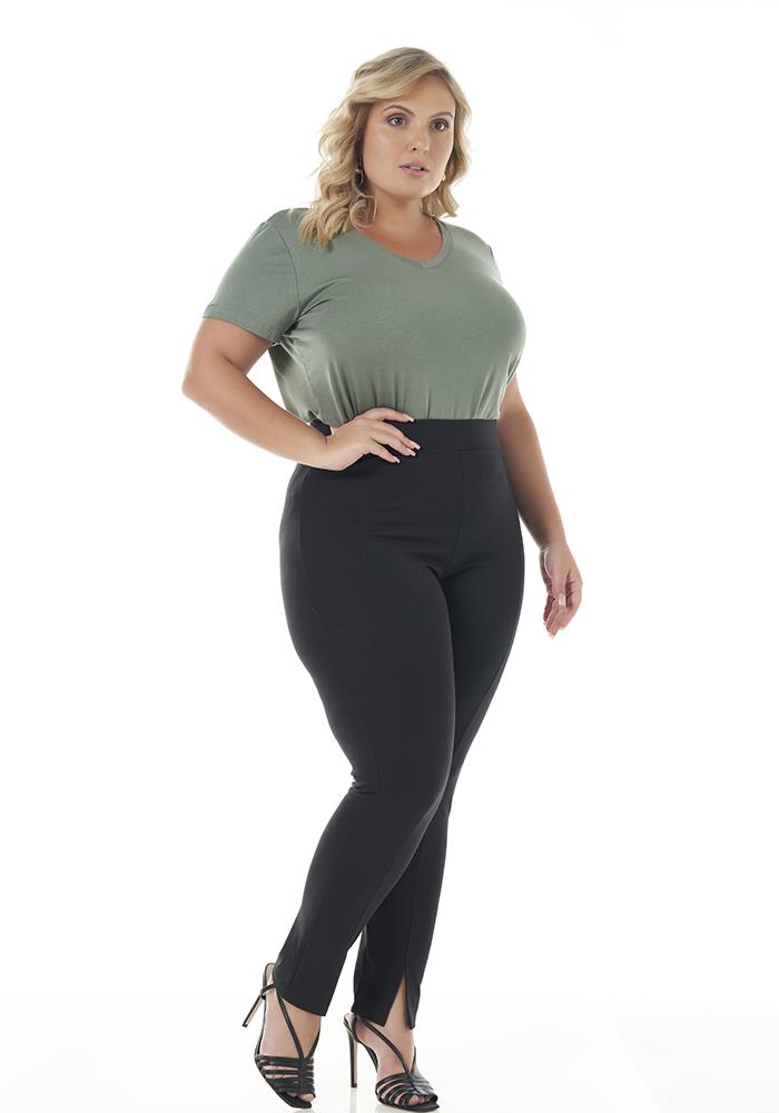 Blusa Lisa Verde Decote V