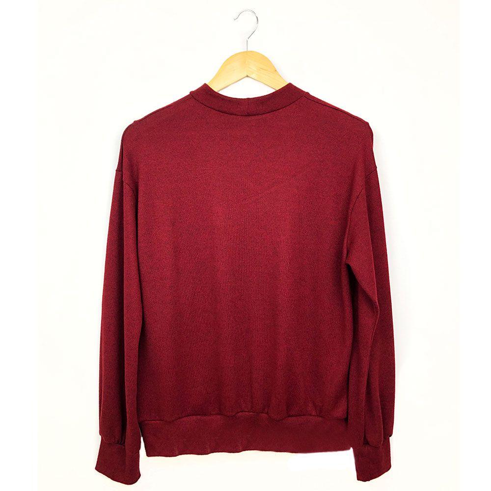 Blusa Malha Lã Com Pompom Vinho