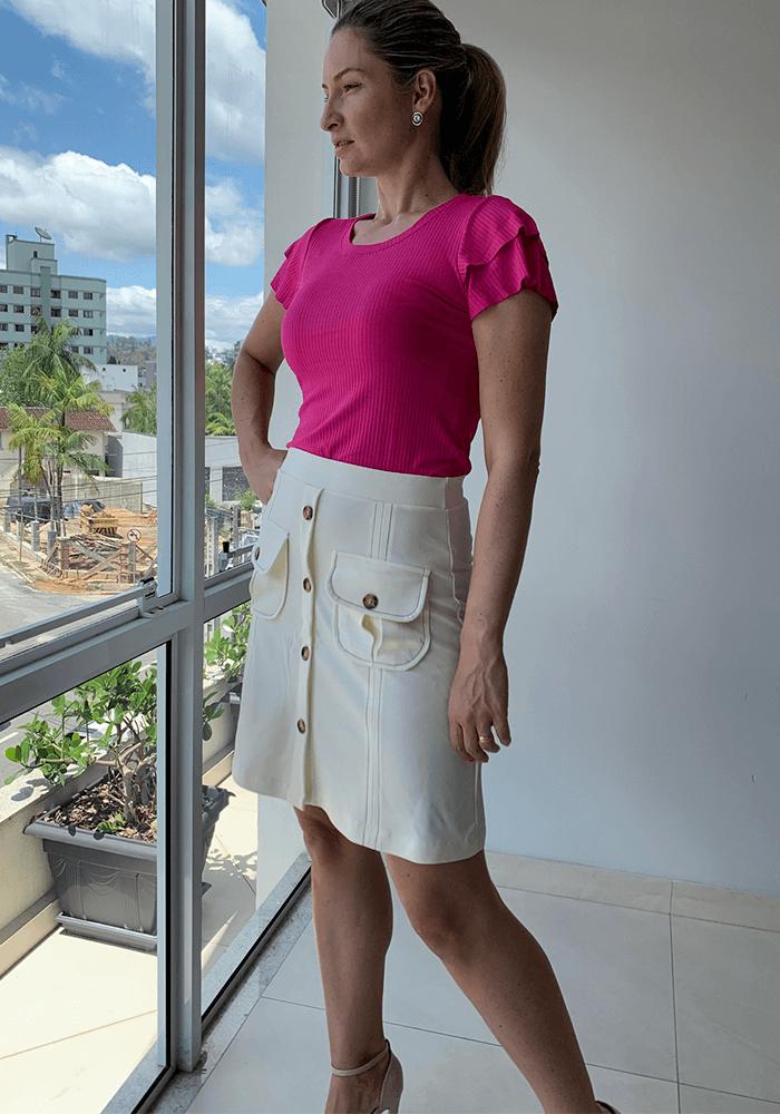 Blusa Rosa Canelada com Babados Manga