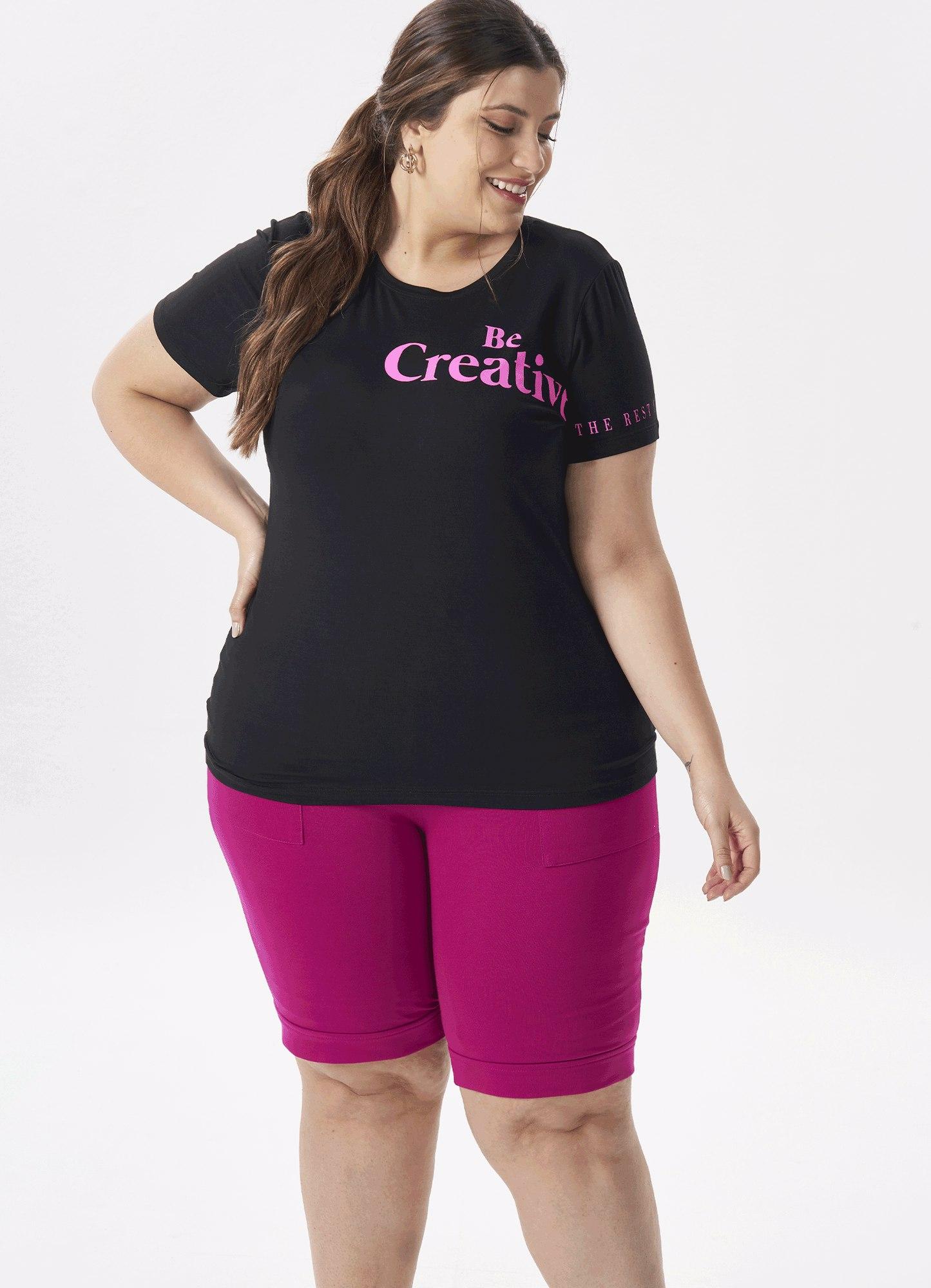 Blusa T-shirt Feminina Malha Preta Estampa
