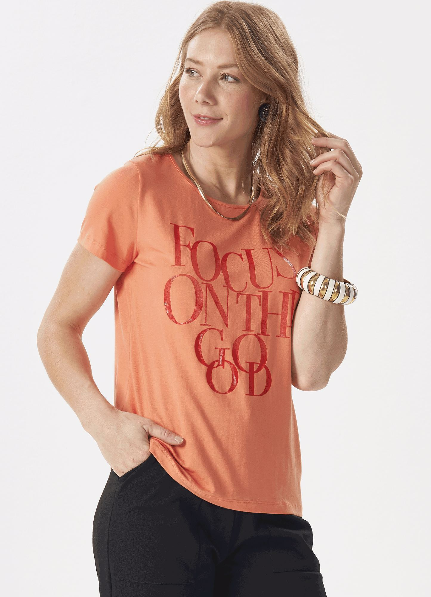Blusa T-shirt Feminina Plus Size malha Laranja Estampa Gel Manga curta